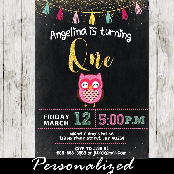 Girl Owl Birthday Party Invitations