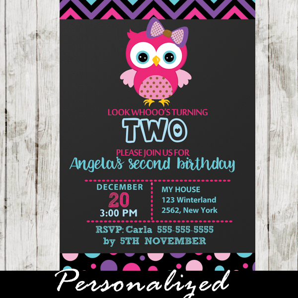 Pink Owl Birthday Invitation
