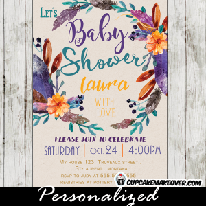 boho feathers watercolor floral baby shower invitations
