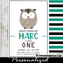 owl birthday invitations first 1st party hand drawn boys party invites