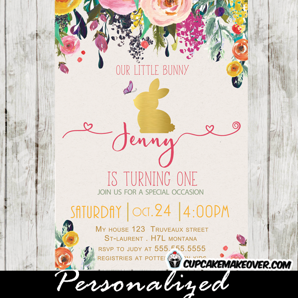 Woodland Floral Bunny Birthday Invitation Gold Foil Cupcakemakeover