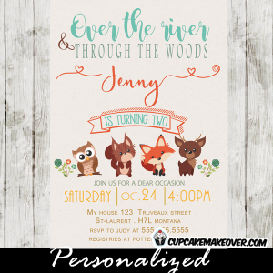 forest animals woodland party invitations boys girls