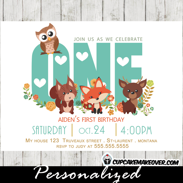 Woodland First Birthday Invitation Forest Friends Personalized