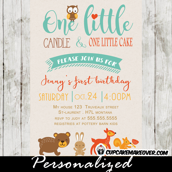forest animals woodland themed birthday invitations