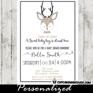 deer baby shower invitations hand drawn