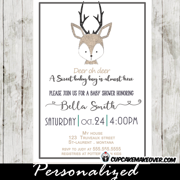 little deer baby shower invitation hand drawn cupcakemakeover