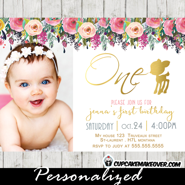 willow deer birthday invitations floral gold girl