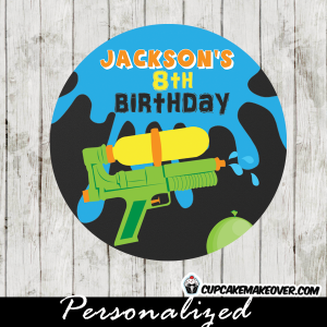 water gun party favor tags stickers