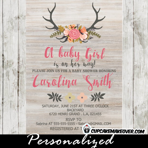 floral deer antlers baby shower invitations