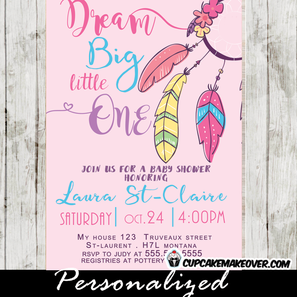 pink feathers boho tribal feathers dream catcher invitations baby shower girl
