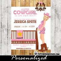 pink pregnant cowgirl baby shower invitations