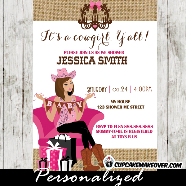 Pregnant Brunette Cowgirl Baby Shower Invitations Pink Burlap