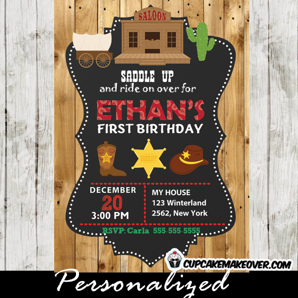 cowboy western birthday invitations barn wood