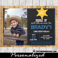 blue cowboy photo western birthday invitations
