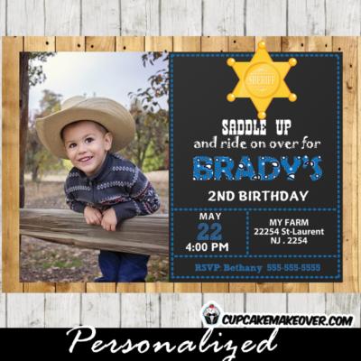 blue cowboy photo western birthday invitations