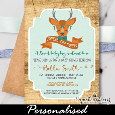woodland deer baby shower invitations boy