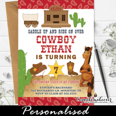 Western Themed Cowboy Party Invites Red Paisley