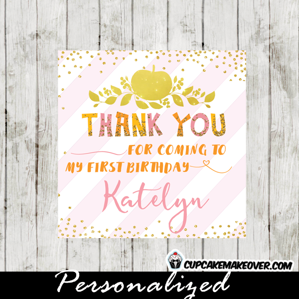 little pumpkin birthday favor tags square labels