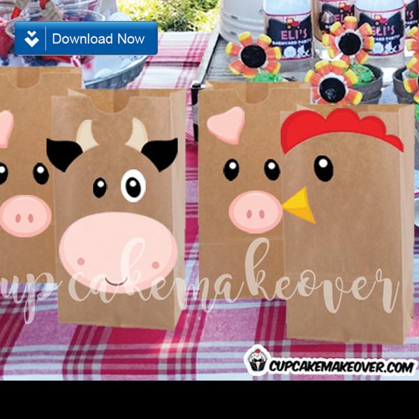 farm themed party favors animal cutouts