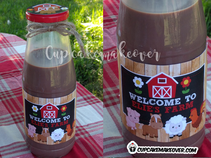 custom farm animals barnyard chocolate milk bottle labels