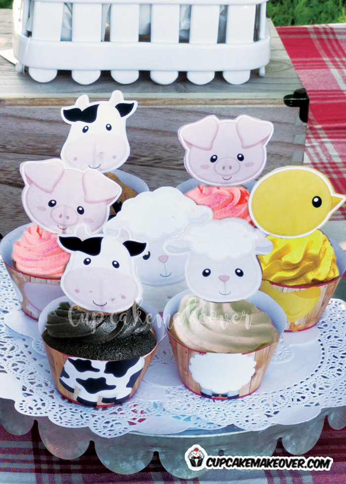 barnyard farm animals cupcake ideas sheep cow pig chick