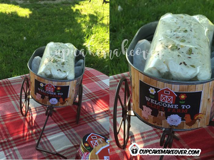 barnyard table decoration farm cart white cotton candy wool
