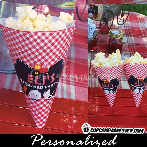 barnyard birthday party favor ideas corn cones popcorn