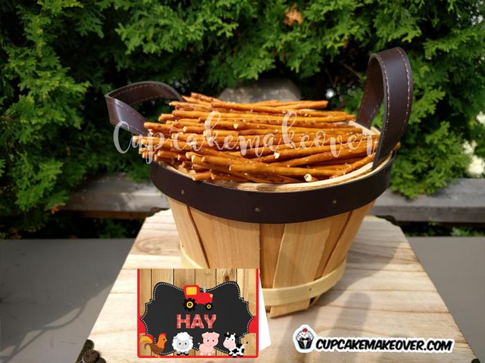 barnyard party food ideas farm hay stack pretzels labels