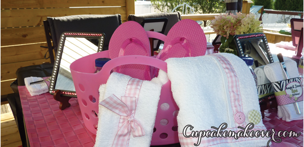 spa day party favors basket
