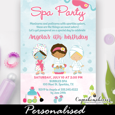 girls spa party invitations ideas