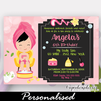 little girl spa party invitations pamper day kids