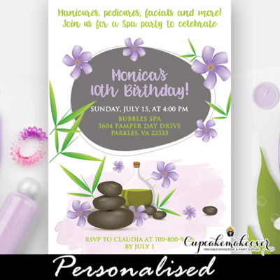 bamboo purple jasmine spa birthday party invitations