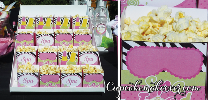 spa themed favor boxes popcorn