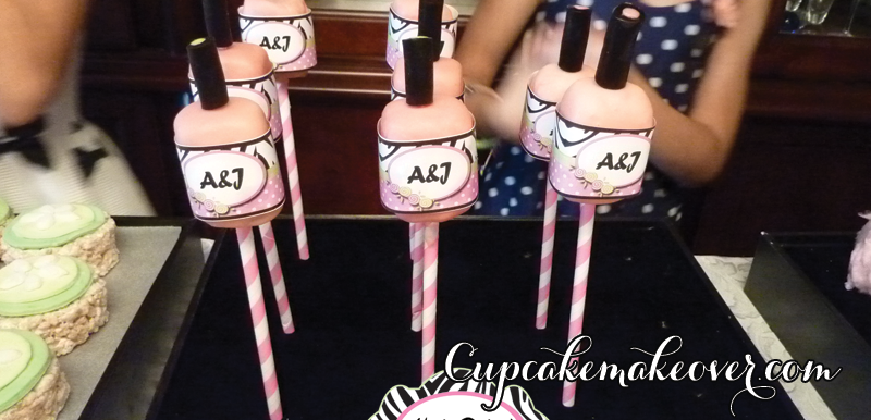 spa nail polish bottle vanilla cake pops