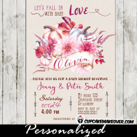 fall themed baby shower invitations october pink floral autumn pumpkin arrangement