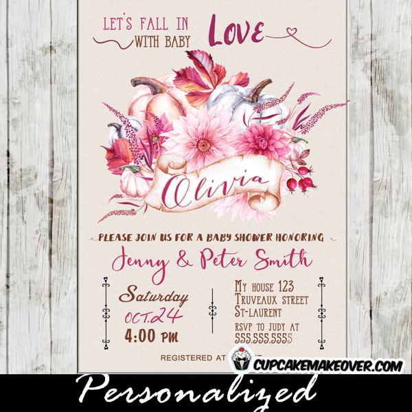 fall themed baby shower invitations october pink floral autumn pumpkin arrangement