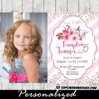 pumpkin invitations birthday photo online pink stripes gold glitter floral burgundy