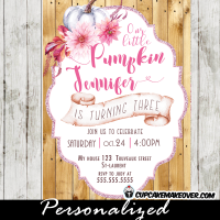 pumpkin birthday invitations country barn wood floral fall themed arrangement