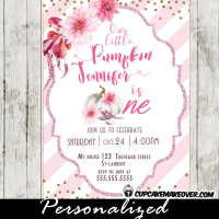 pumpkin 1st birthday invitations fall themed floral pink gold