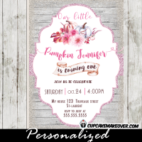 pumpkin 1st birthday invitations white wood fall themed floral pink glitter