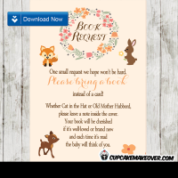 woodland animals baby shower book request