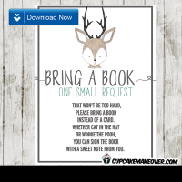 woodland hand drawn little deer book request invitation insert