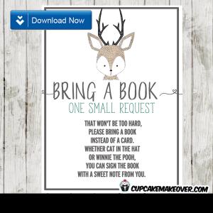 woodland hand drawn little deer book request invitation insert