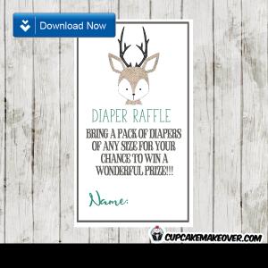 woodland hand drawn little deer diaper raffle tickets