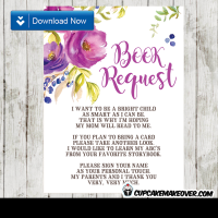 purple floral watercolor book request invitation insert