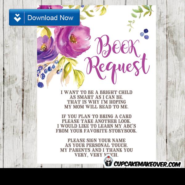 purple floral watercolor book request invitation insert