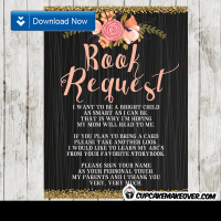 black wood gold pink floral watercolor book request invitation insert