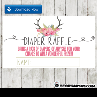 deer antlers pink watercolor floral tulips diaper raffle tickets
