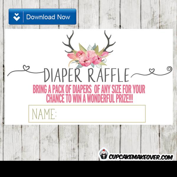 deer antlers pink watercolor floral tulips diaper raffle tickets