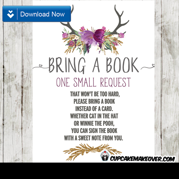 deer antlers purple watercolor floral tulips book request invitation request